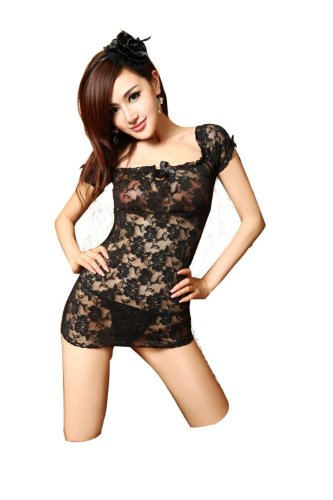 Black Lace Babydoll Sexy Lingerie Dress+G-string Sleepwear Costume 2PCS,one size