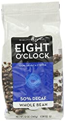 Eight O'Clock Coffee, 50% Decaf Whole Bean, 12-Ounce Bags (Pack of 4)