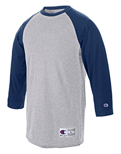Champion 5.2 oz. Raglan Baseball T-Shirt, Large, OXF GRY/NAVY (Baseball Tee Champion compare prices)