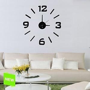 Reloj Pared Adhesivo Negro 32x24x8 Cm