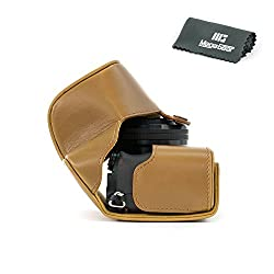 MegaGear 'Ever Ready' Protective Leather Camera Case, Bag for Sony Alpha A6000 with 16-50mm (Light Brown)