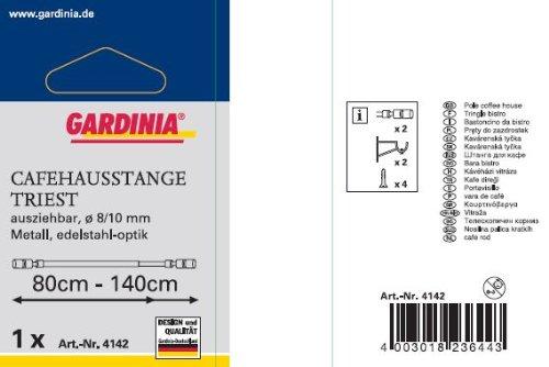 Gardinia 4142 Barre métallique Triest en métal extensible de 80 à 140cm avec 2 supports Gris acier Ø 8/10 mm