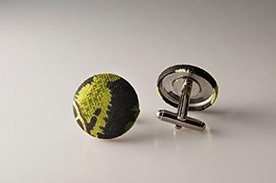 Cufflinks, Fabric button cufflinks, wedding cufflinks, groom cufflinks, African fabric cufflinks, Ankara cufflinks, Green cuff links