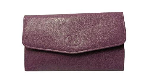 Compagno cuoio, da donna, a portafoglio, con porta chèquier-Porta carte e porta monete, 20 x 12,5 x 3 cm, colore: viola/lilla Francaise-fabbricazione