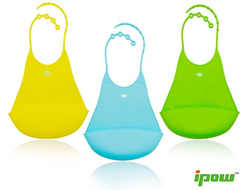 3 Pack if Soft Baby Bib Ipow® Top Narrow Design Silicone Food Catcher Burp Cloths - 1