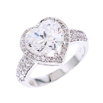 3.5ct Engagement Heart CZ Diamond Silver Ring