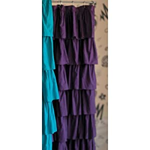 Ruffled Cotton Shower Curtain Color Plum