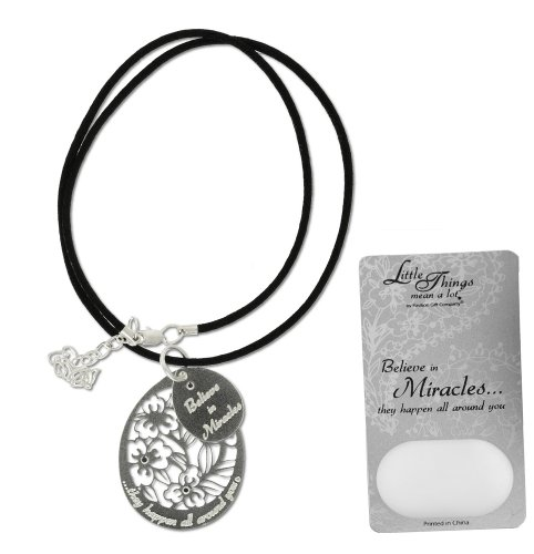 Little Things Mean A Lot Miracles Necklace, Includes 1-1/2-Inch Silver Plated Oval Pendant