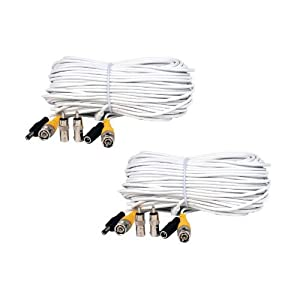 41tTMRiXaFL. SL500 AA300  #10 VideoSecu 2 Pack 100ft Feet Video Power Cables BNC RCA Security Camera Extension White Wires Cords for CCTV DVR Surveillance System C21 special discount