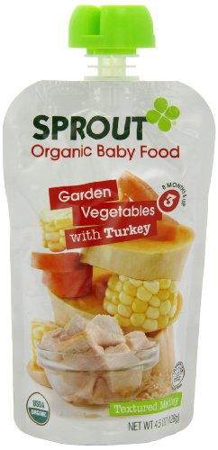 Sprout Organic Foods Stage 3 Pouches, Garden Vegetables & Brown Rice with Turkey, 4.5 Ounce (Pack of 5) - 1