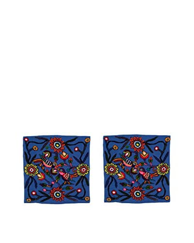 Uptown Down Set of 2 Found Peruvian Embroidered Pillows, Blue As You See