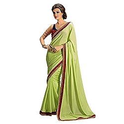 Resham Fabrics Light Green Georgette Saree