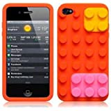 iPhone 4S / iPhone 4 Orange Brick Style Silicone Skin Case / Cover / Shell