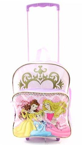 Disney Princess Rolling Pink/Purple Backpack With Wheels Kids School Bag