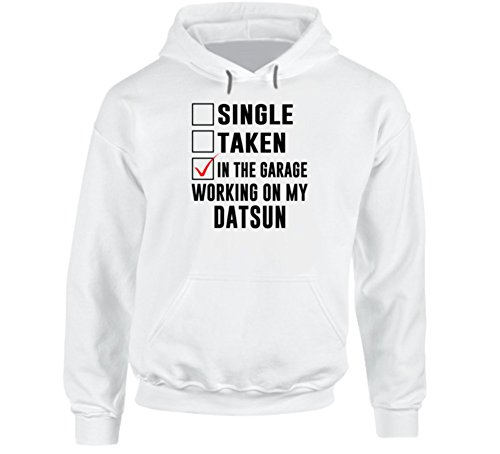 Single Taken Working on My Datsun Funny Car Hooded Pullover L White (Datsun Hoodie compare prices)