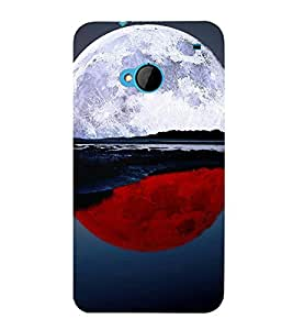 printtech Red White Moon Water Back Case Cover for HTC One M7::HTC M7