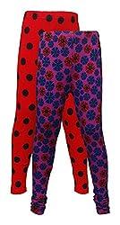 Little Stars Girls' Cotton Regular Fit Leggings- Pack of 2 (Po2Gpl_3215_30, Multi-Colour, 9-10 Years)