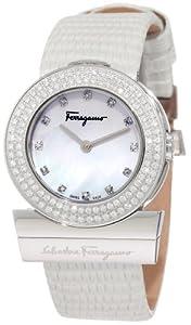 Salvatore Ferragamo Women's F56SBQ9991i S001 Gancino Mother-Of-Pearl Genuine Leather Diamond Watch by Salvatore Ferragamo