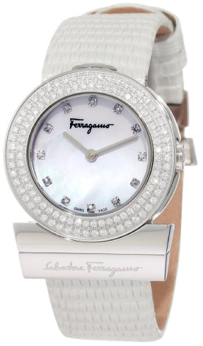 Ferragamo Women's F56SBQ9991i S001 Gancino Mother-Of-Pearl Genuine Leather Diamond Watch