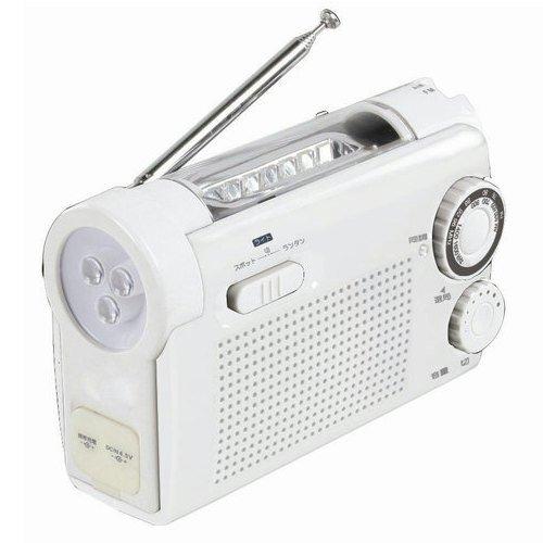 【Amazonの商品情報へ】手回し充電ラジオライト KDR-10-W ホワイト