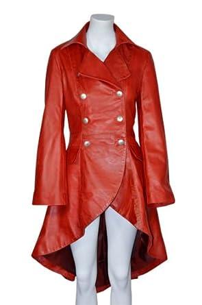 Rot Gotik Damen Edwardian Frauen gewaschen Wirkung Echtes Leder zuruck geschnurt Jacken / Mäntel Alle Größen