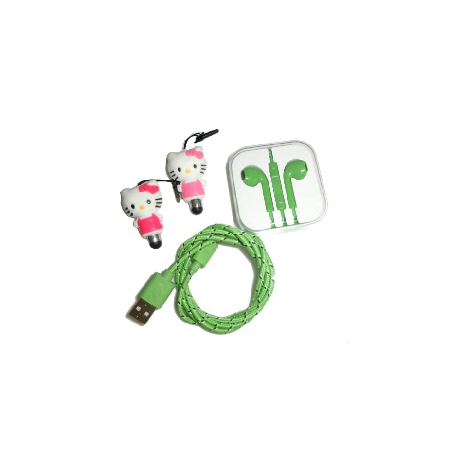 Ayangyang Green 8pin Cable and Earphone for Iphone 5 5s 5c +Red and Pink Hellokitty Stylus Pen
