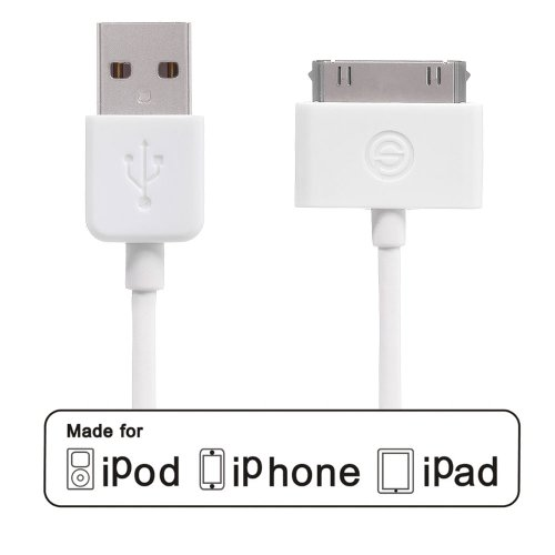 OPSO Apple Certified 4 Feet(1.2M) 30 Pin Connector to USB Sync and Charge Cable for Apple iPhone iPod iPad, White