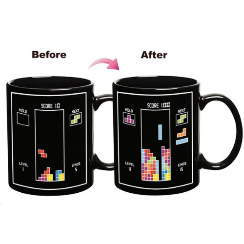 Funny Tetris Thermometer Heat Color Changing Coffee Tea Milk Mood Sensitive Ceramic Mugs Cups