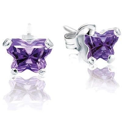 Jewelry Locker Bfly(tm) Sterling Silver and CZ February Birthstone Teen Earrings