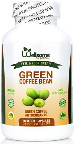 800MG Pure Green Coffee Bean Extract with 50% CGA-For Weight Control- 60 VEGGIE CAPSULES- By Wellsome Nutrition (Green Coffee Tablets compare prices)