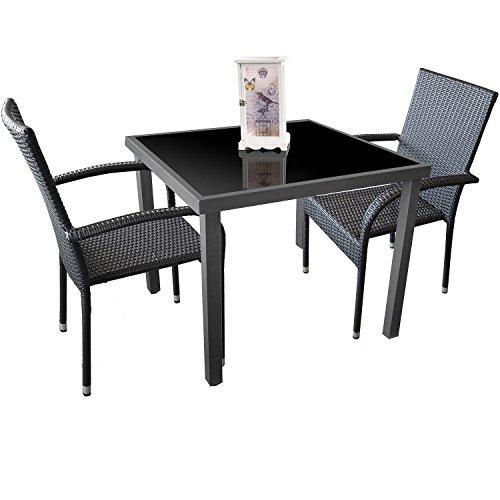 3tlg-Garnitur-Alu-Glastisch-90x90cm-Poly-Rattan-Gartenstuhl-stapelbar-Gartengarnitur-Stapelstuhl-Terrassenmbel-Sitzgruppe-Sitzgarnitur