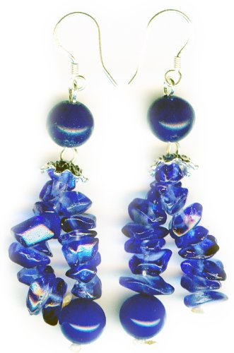 Blue agate Earrings on 925 sterling silver hooks