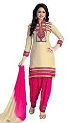 Justkartit Women's Unstitched Cream & Pink Colour With Amazing Embroidery & Lace Work Patiala Salwar Suit / Women's Patiala Salwar Kameez by Justkartit (Free Size) (Latest Diwali Collation Of Indian Ethnic Wear)