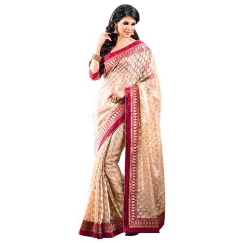 Vishal Satin Heavy Lace Patta Work Cream 2 States Saree 2states32616 (yellow)
