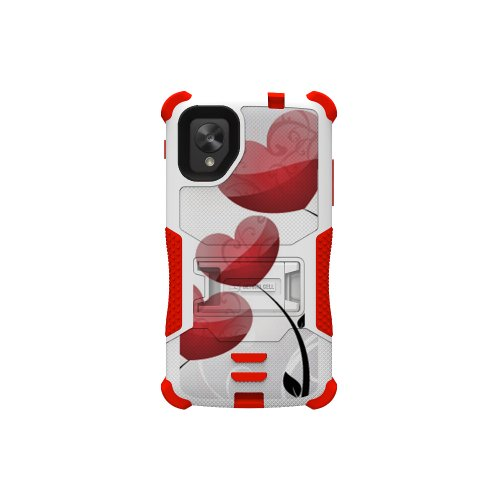 Beyond Cell Tri-Shield Durable Hybrid Hard Shell And Silicone Gel Case For Lg Nexus 5 - Retail Packaging - White/Red