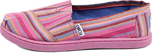 Toms - Youth Slip-On Shoes In Pink Cultural Stripe, Size: 12