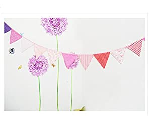 Come 2 Buy - Country Garden Vintage Shabby Chic Style Multi Coloured Handmade Spotty Polka Dots Floral Gingham Stripe Double Side Cotton Fabric Bunting Flag Banner Indoor & Outdoor Party Decoration - 12 Pennant Flags Approx. 2.6M Long from C2B