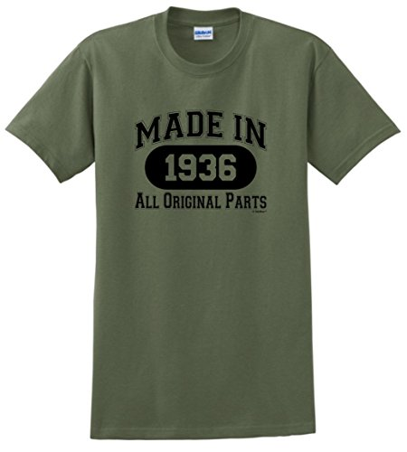 80th Birthday Gifts for Mom 80th Birthday Gift Made 1936 All Original Parts T-Shirt XL Military Green