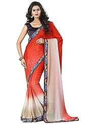AG Lifestyle Women's Chiffon Saree(DVY4009, Red)