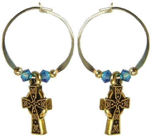 Jody Coyote Silver Beaded Bronze Celtic Cross Hoop Earrings CH039S