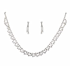 Bridal Wedding Jewelry Set Crystal Rhinestone Pearl Simple Sweet Silver White