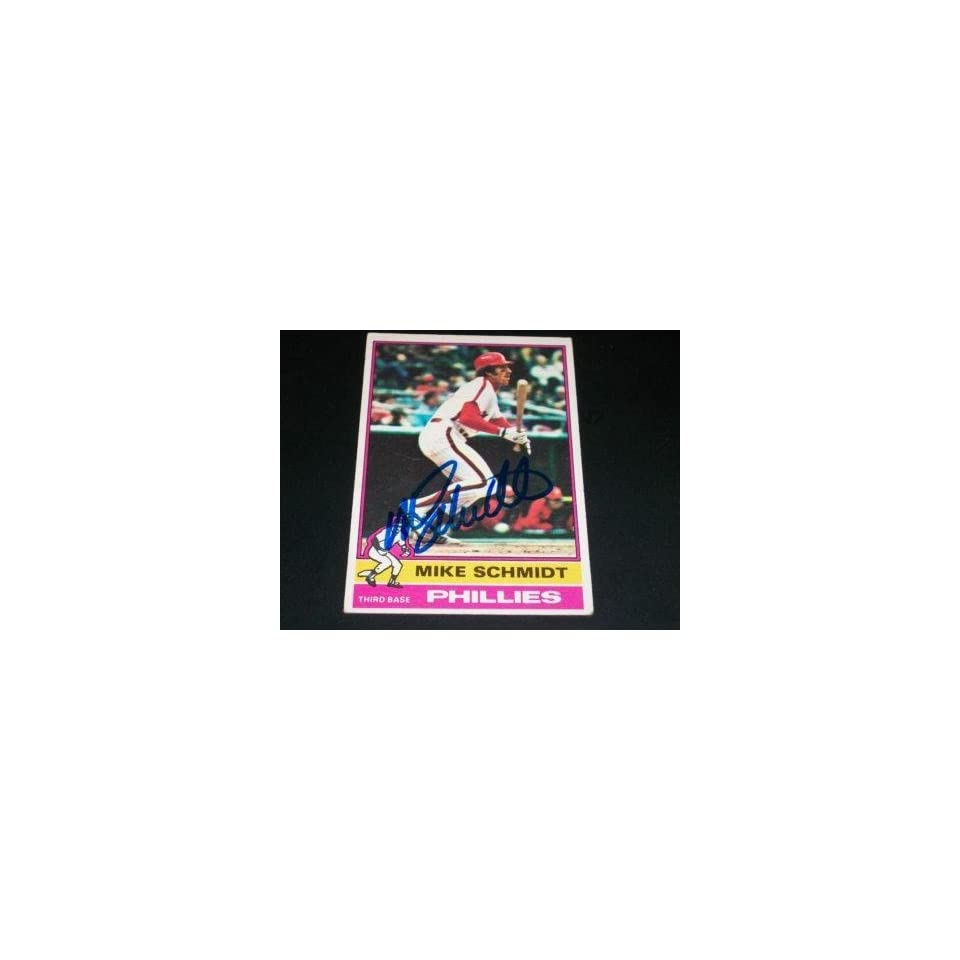 Phillies Mike Schmidt Auto Signed 1976 Topps #480 JSA B   Signed MLB