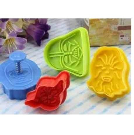 4 pcs Star Wars Cookie Cutters Plungers for Cake,Decoration,Fondant,Bakeware,Mould,Mold,baking