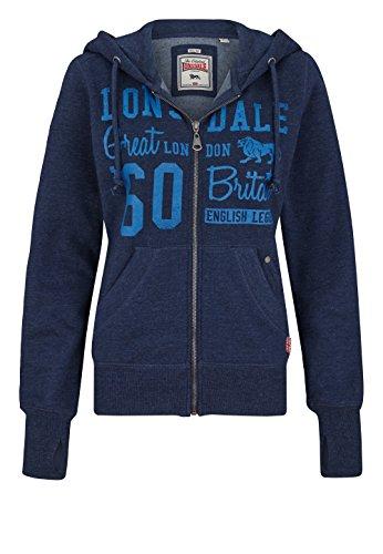 Lonsdale - Sweatjacke Staplecross, Felpa Donna, Blu (Marl Navy), X-Large (Taglia Produttore: X-Large)