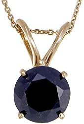 Vir Jewels 14K Yellow Gold Black Diamond Solitaire Pendant (2 CT) With Chain