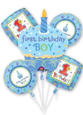 1St First Birthday Boy Cupcake 5 Balloon Bouquet Kit W/Ribbons front-920680