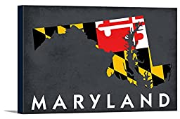 Maryland - State Outline Flag (36x24 Gallery Wrapped Stretched Canvas)