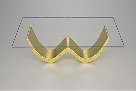ein Couchtisch mit Marmorsockel und Glasplatte Modell - David - Cm 110 x 65 - Höhe: cm 39 - Finish: Gold