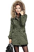 iLoveSIA Womens Winter Warm Hooded Trim Faux Fur Military Coat Cotton Parka