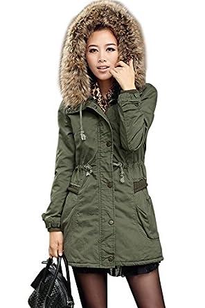 iLoveSIA Womens Winter Warm Trim Faux Fur Military Coat Parka Size 10 Army Green1